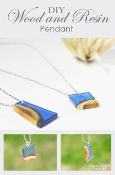 wood and resin pendant - learn how to DIY this necklace. You could make it any color or shape. All the details and photos on the process to create it are here! -- wood and resin, woodworking, resin crafts, resin crafts blog, sponsored post, eti technologi