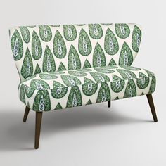 Kelly Green Bindi Kenway Upholstered Loveseat: Blue/Green - Fabric by World Market Furniture Sofa Set, Rustic Living Room Furniture, Funky Furniture, Furniture For Small Spaces, Space Furniture, Antique Furniture, Bedroom Furniture, Painted Furniture, Furniture Ideas