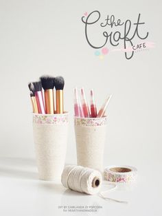 How To Make A Make Up Cup Organiser with stuff from your recycling