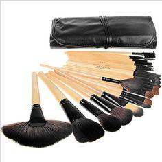 Gacals DeedTM 24 pcs Makeup Brush Set  Cosmetic Foundation Face Powder blush brush Makeup Brush Kit  Makeup Brush Bag Wood Color *** Visit the image link more details.