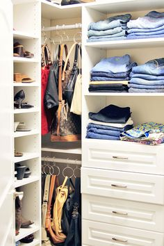 idea for organizing handbags; a good way to use a spot in the closet that would potentially be wasted otherwise.