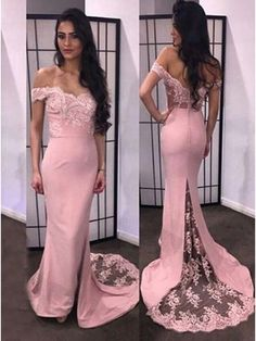 Trumpet/Mermaid Off-the-Shoulder Lace Long Prom Evening Formal Dresses 99602053