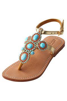 "Turquoise & golden strap sandal from ""MYSTIQUE"""