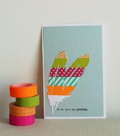 Inspiration couleur de Mélanie, de l'équipe créative Kesi'art pour cette carte colorée à l'aide de masking tape et du die Metaliks plume.