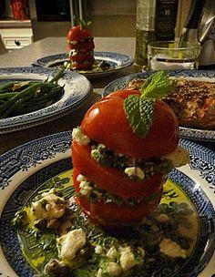 Fluffy Chix Cook: Tomato Feta Stack and Mustard Glazed Salmon