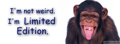 I always get called weird. Im limited edition. Whose weird now! Funny Photos, Funny Images, Fb Timeline Cover, Timeline Design, Facebook Timeline, Cover Creator, Challenge Quotes, Haha So True, Hd Quotes