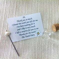 Tooth Fairy Kit, Mini Handmade Wand, Tooth Fairy Letter, Fairy Certificate, Tiny Envelope, Tooth Fairy Note, Lost Tooth, First Tooth, When your kids baby teeth start getting loose, its time to get this great Tooth Fairy kit. In this kit you will find : - A tiny envelope to put the tooth inside. - A bottle with a message from the tooth fairy. - A gifr from the tooth fairy: Mini handmade wand - A certificate from the tooth fairy WHAT TO DO WITH THE KIT - Give your kid the tiny envelop to put…