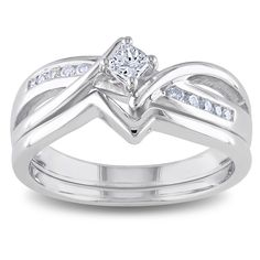 Princess- and round-cut diamond bridal ring setSterling silver jewelryClick here for ring sizing guide
