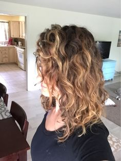 Balayage naturally curly hair - done by Sarah Collier