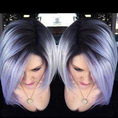 Beautiful silver lavender hair color design by shadow root by Brittnie Garcia bob haircut hotonbeauty.com