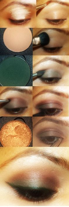 Brown and green eye makeup tutorial - PERFECT for lovely green eye colour!