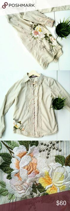 3J Workshop/Johnny Was Embroidered Shirt Long sleeve button down/ western shirt with floral embroidery and metal embellishments across the side and back. Truly stunning. One dot of discoloration on one of the sleeves, difficult to spot. Johnny Was Tops