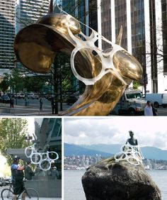 Six Pack Attack: To protest against the impact of single-use plastic on marine and wildlife, giant plastic six-pack rings were placed on iconic sculptures in Vancouver, B.C.