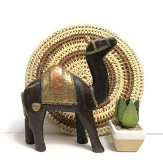 Carved Wood Camel with Brass Copper Embellishments