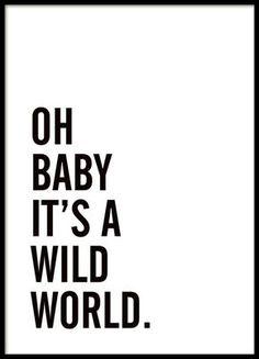 Schwarz-Weiß-Poster mit dem Text Oh baby it's a wild world. Schlichtes und schönes Typografie-Poster, das in viele Räume und Einrichtungsstile passt. Perfekt als Teil einer Bilderwand in Kombination mit anderen Typografie-Postern, Graphic art oder Fotokunst. Schön über dem Sofa oder als Blickfang im Flur etc.www.desenio.de