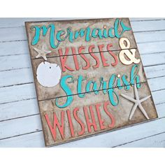 Mermaid Kisses Starfish Wishes Framed Mermaid Sign Turquoise... ($59) ❤ liked on Polyvore featuring home, home decor, wall art, home & living, home décor, silver, wall décor, dot sign, coral home accessories and nautical wall art
