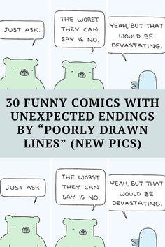"Meet comic illustrator Reza Farazmand, the person behind the popular webcomic series called The ""Poorly Drawn Lines."" Funny Corny Jokes, Punny Puns, Short Jokes Funny, Funny Disney Jokes, Dark Humor Jokes, Sarcastic Humor, Funny Facts, Cheesy Jokes, Funny Humor"