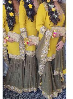 Pakistani Mehndi Dress, Pakistani Fashion Party Wear, Pakistani Wedding Outfits, Indian Bridal Outfits, Pakistani Bridal Wear, Pakistani Dresses, Designer Party Wear Dresses, Kurti Designs Party Wear, Indian Designer Outfits