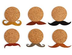Kikkerland Design Inc » Products » Mustache Cork Coasters