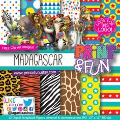 Madagascar Afro Circus Digital Paper Patterns - Digital Papers and more!