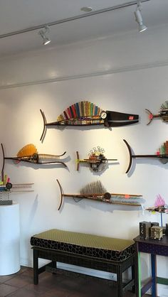 fish on location Folk Art Fish, Fish Art, Metal Fish, Wood Fish, Deco Marine, Fish Sculpture, Sculptures, Found Object Art, Scrap Metal Art