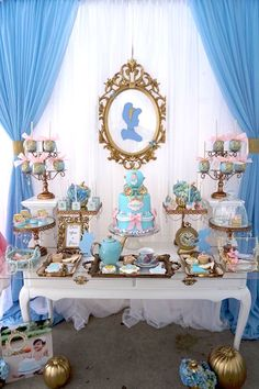 Party table from Fairy Godmother Cinderella Birthday at Kara's Party Ideas. See more at karaspartyideas.com!