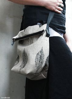 This bag is hand printed using a real leaf on soft natural linen. Printpaint that I use is water based and non-toxic, and the printed fabric is
