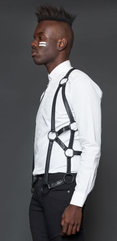 Mens - Accessories - Original Sin Mens Vegi Leather Harness Vest $78.00
