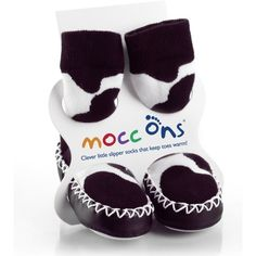 Mocc Ons - Moccasin Style Slipper Socks Cow Print £10.99