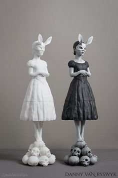 """""""White Rabbit"""" by Danny Van Ryswyk is a 3D printed sculpture. It was printed in white polyamide (at left) and hand-painted with several layers of acrylic paint. Danny shares his technical painting method and artistic vision here: i.materialise.com/b"""