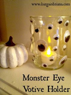 Dollar Store DIY: Creepy Monster Eye Candle Holder fun for Halloween! Cute Halloween Costumes, Scary Halloween, Halloween Crafts, Halloween Decorations, Halloween Stuff, Halloween Party, Halloween Ideas, Halloween 2017, Candle Decorations