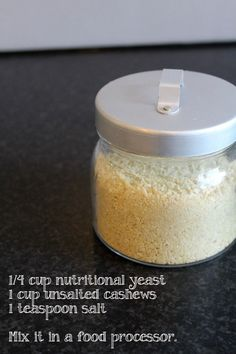 Parmesan vegan or paleo cheese: cup nutritional yeast; mix in a food processor Vegan Cheese Recipes, Vegan Parmesan Cheese, Vegan Sauces, Vegan Foods, Vegan Dishes, Dairy Free Recipes, Raw Food Recipes, Vegan Gluten Free, Paleo