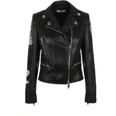 Versus Versace ZXV Lace-Up Eco Leather Biker Jacket ($1,940) ❤ liked on Polyvore featuring outerwear, jackets, punk biker jacket, asymmetrical zip moto jacket, fleece-lined jackets, asymmetrical zip jacket and embroidered jacket