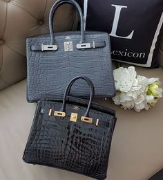 Hermes Plomb Matte Niloticus Birkin 30 Phw and Black Shiny Niloticus Birkin 25 Ghw X stamp