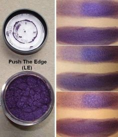 "PUSH THE EDGE PRESSED PIGMENT from MAC: a deep bright purple with pearl."" It's a rich violet purple with strong fuchsia-red undertones and a frosted finish."