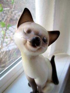 Long Neck Siamese Cat ceramic figurine kitten by happykristen, $28.00