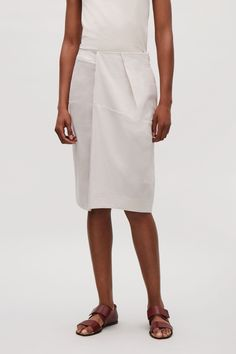 COS image 2 of Skirt with folded front in Light Stone
