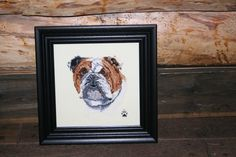 Custom cross stitch-Bulldog Cross Stitched Full Face Dog- so gorgeous!