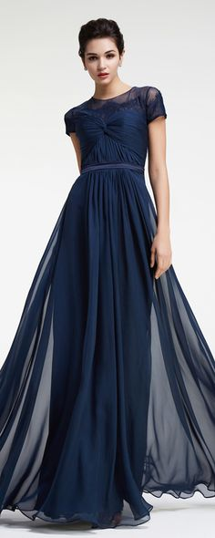 Modest prom dress with sleeves navy blue prom dresses