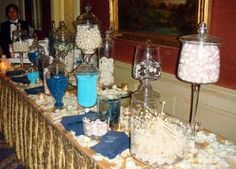 blue and white themed candy bar at a wedding, Yes please :)