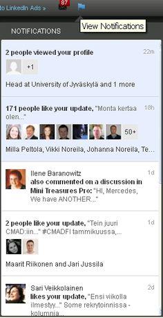 LinkedIn esitteli hiljattain Facebookista kopioidun ominaisuuden eli notifikaatiot, mikä parantaa palvelun käytettävyyttä