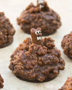Pop-Up Chocolate Ground Hog Cookies. Make the ground hog with tootsie rolls & no bake cookies for mud. (February for Groundhog Day! Just Desserts, Delicious Desserts, Yummy Food, Dessert Healthy, Health Desserts, Holiday Treats, Holiday Recipes, Bonbon Fruit, Yummy Treats