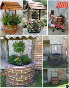 DIY Wishing Well Tire Planter - DIY Tire Planter Ideas Garden Cafe, Tire Garden, Garden Fencing, Diy Recycle, Tyres Recycle, Garden Planters, Tire Planters, Green Garden, Garden Landscaping