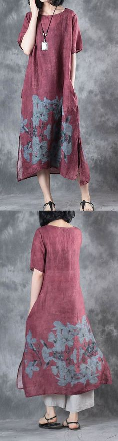 new summer burgundy prints linen casual dresses oversize vintage sundress