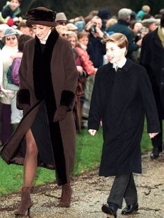 Princess Diana Princess of Wales walking with Prince William
