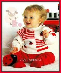 PDF Knitting Pattern for a Babies Sweet Little Ladybird Sweater | Baby and Toddler Sweater Knitting Patterns, many free patterns including cardigans, pullovers, jackets and more http://intheloopknitting.com/free-baby-and-child-sweater-knitting-patterns/