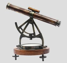 Marine Collectible Alidade Telescope With Compass Nautical Brass Skillful Manufacture Maritime Antiques