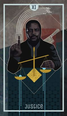 The Expanse tarot: Justice Fred Johnson sits before a scale which is tipped in favor of one dish containing a protomolecule. He is placing his newly acquired protomolecule in the other dish - the...