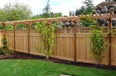 love the lattice over top of privacy fence and pergola-type topper. Do this along the back fence to shield from neighbors. Add climbing plants/vines to add more privacy above the fence where the pergola is. Privacy Fence Designs, Privacy Landscaping, Backyard Privacy, Privacy Fences, Backyard Fences, Garden Fencing, Garden Landscaping, Landscaping Ideas, Pool Fence