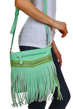 New Vieta Lizzy, Sparkle Accent Fringe Messenger w/ 2-Sides Pockets- Mint Green - Brought to you by Avarsha.com